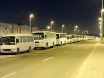 Buses lined up outside workers city in Mafraq,Abu Dhabi