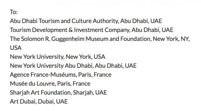 Letter from sixty+ curators, critics and museum directors to UAE art institutions, and their affiliates